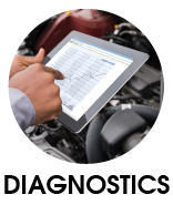 Man running diagnostics with help of a tablet