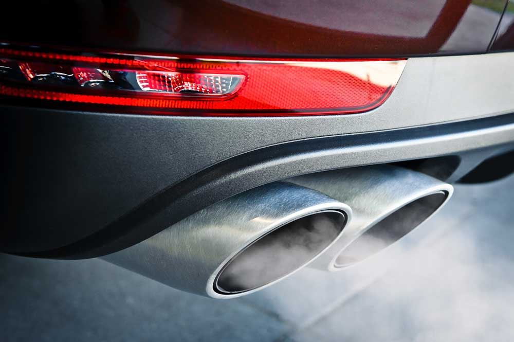 Car emissions exiting tailpipe