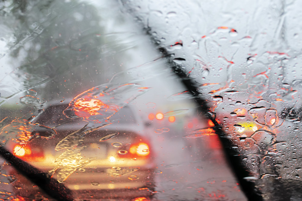 Driving during a rainstorm